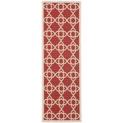 Safavieh Courtyard Geometric Trellis Red/ Beige Indoor/ Outdoor Rug (2'4 x 6'7)