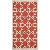 """Safavieh Courtyard Geometric Trellis Red/ Beige Indoor/ Outdoor Rug - 2'7"""" x 5'"""