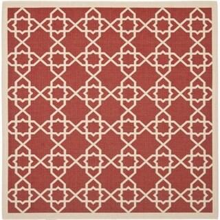 Safavieh Courtyard Geometric Trellis Red/ Beige Indoor/ Outdoor Rug (6'7 Square)