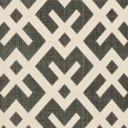 Safavieh Courtyard Contemporary Black/ Bone Indoor/ Outdoor Rug (2'4 x 9'11) - Thumbnail 2