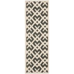 Safavieh Courtyard Contemporary Black/ Bone Indoor/ Outdoor Rug (2'4 x 9'11) - 2'4 x 9'11 - Thumbnail 0