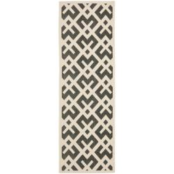 Safavieh Courtyard Contemporary Black/ Bone Indoor/ Outdoor Rug (2'4 x 6'7)