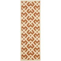 Safavieh Courtyard Contemporary Terracotta/ Bone Indoor/ Outdoor Rug (2'4 x 9'11) - 2'4 x 9'11
