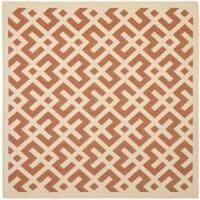 Safavieh Courtyard Contemporary Terracotta/ Bone Indoor/ Outdoor Rug - 6'7