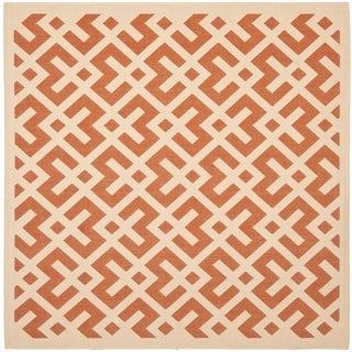 "Safavieh Courtyard Contemporary Terracotta/ Bone Indoor/ Outdoor Rug - 6'7"" x 6'7"" square"