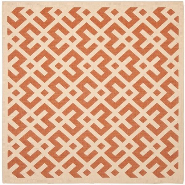 "Safavieh Courtyard Contemporary Terracotta/ Bone Indoor/ Outdoor Rug - 6'7"" x 6'7"" Square"