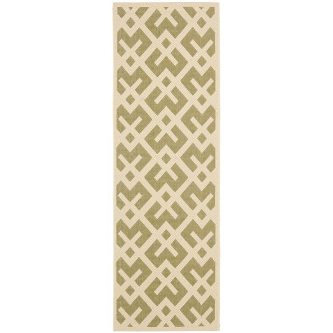 Safavieh Courtyard Contemporary Green/ Bone Indoor/ Outdoor Rug (2'4 x 6'7)