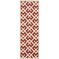 Safavieh Courtyard Contemporary Red/ Bone Indoor/ Outdoor Rug (2'4 x 9'11) - 2'4 x 9'11