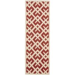 Safavieh Courtyard Contemporary Red/ Bone Indoor/ Outdoor Rug (2'4 x 6'7)