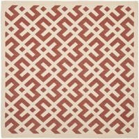 "Safavieh Courtyard Contemporary Red/ Bone Indoor/ Outdoor Rug - 6'7"" x 6'7"" square"