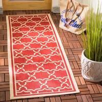 """Safavieh Courtyard Poolside Red/ Bone Indoor/ Outdoor Rug - 2'3"""" x 10'"""