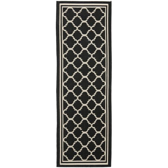 """Safavieh Long Poolside Black/Beige Indoor Outdoor Rug (2'4"""" x 9'11"""")"""