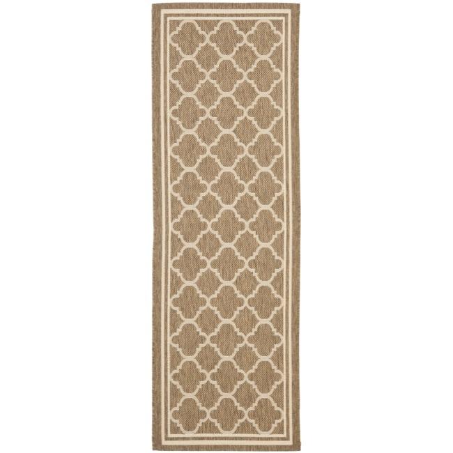 Safavieh Poolside Brown/ Bone Indoor Outdoor Rug (2'4 x 9'11)