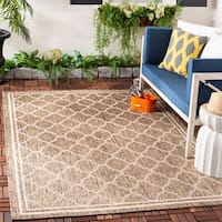 "Safavieh Poolside Brown/Bone Indoor/Outdoor Polypropylene Rug (6'7"" Square) - 6'7 Square"