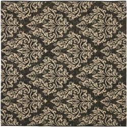 Safavieh Poolside Black/ Cream Indoor Outdoor Rug (6'7 Square)