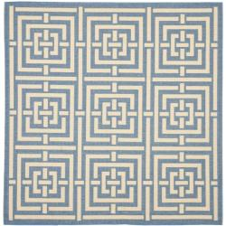 Safavieh Poolside Blue/ Bone Indoor Outdoor Rug (6'7 Square)