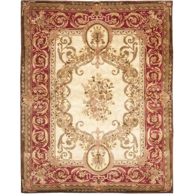 Safavieh Handmade Aubusson Maisse Light Gold/ Red Wool Rug - 8'3 x 11'