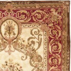 Safavieh Handmade Aubusson Maisse Light Gold/ Red Wool Rug (8'3 x 11') - Thumbnail 1