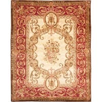 "Safavieh Handmade Aubusson Maisse Light Gold/ Red Wool Rug - 8'3"" x 11'"