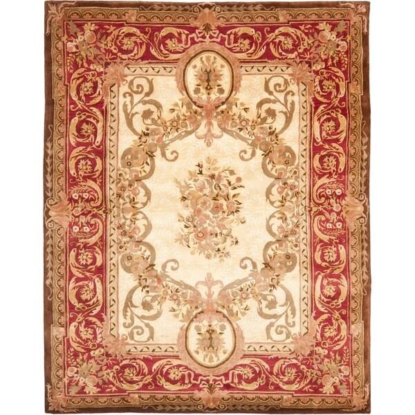 "Safavieh Handmade Aubusson Maisse Light Gold/ Red Wool Rug - 8'3"" x 11'"