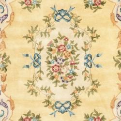 Safavieh Handmade Aubusson Loubron Gold Wool Rug (10' x 14')