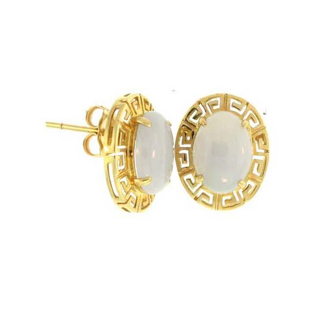 Mason Kay 14k Yellow Gold Lavender Jadeite Greek Key Earrings