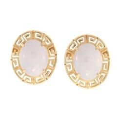 Mason Kay 14k Yellow Gold Lavender Jadeite Greek Key Earrings - Thumbnail 1