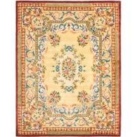 Safavieh Handmade Aubusson Loubron Gold Wool Rug - 9' x 12'