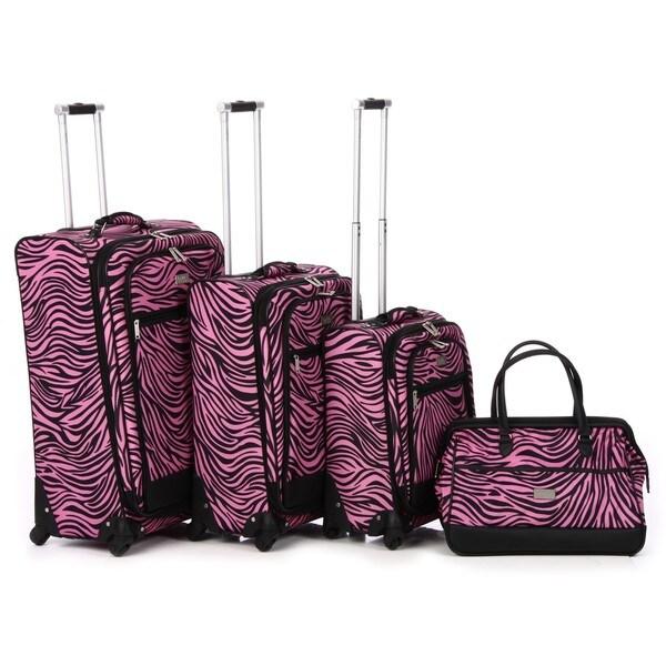 Nicole Miller 'Wild Zebra' 4-piece Expandable Spinner Luggage Set