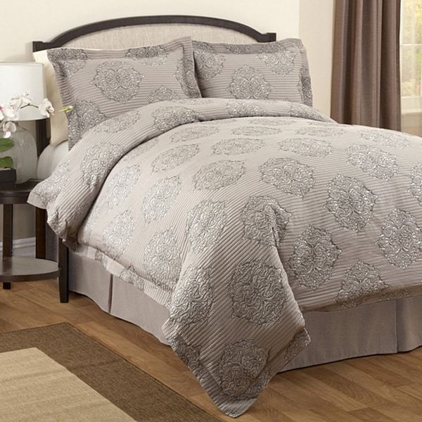 Lush Decor Empire Grey 3-piece Queen-size Duvet Cover Set