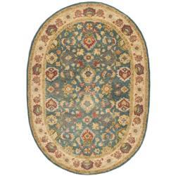 Safavieh Handmade Jaipur Blue/ Beige Wool Rug (4'6 x 6'6 Oval) - 4'6' x 6'6 oval - Thumbnail 0