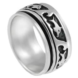 Journee Collection Sterling Silver Men's Spinner Ring - Thumbnail 1