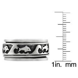 Journee Collection Sterling Silver Men's Spinner Ring - Thumbnail 2