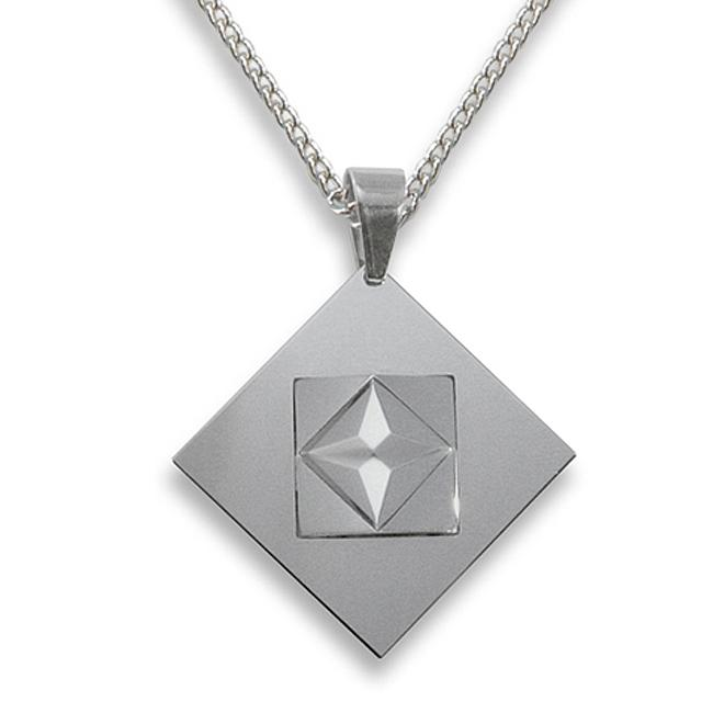 West Coast Jewelry Men's Tungsten Carbide 3-piece Faceted Squares Necklace