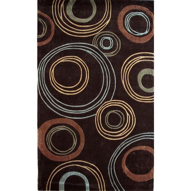 nuLOOM Handmade Brown Norwegian Geometric Circle Orbit Rug (5' x 8')