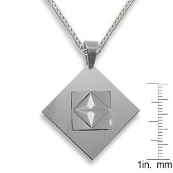 West Coast Jewelry Men's Tungsten Carbide 3-piece Faceted Squares Necklace - Thumbnail 2