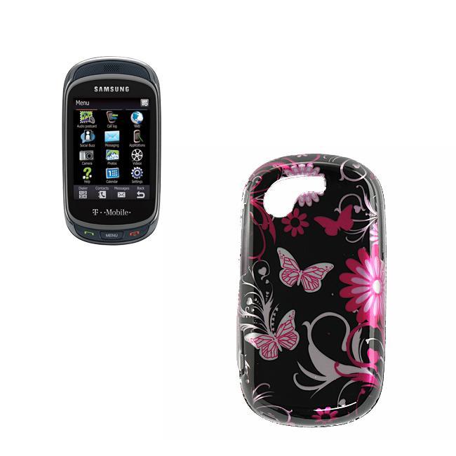 Pink Butterfly Samsung Gravity T T669 Hard Case