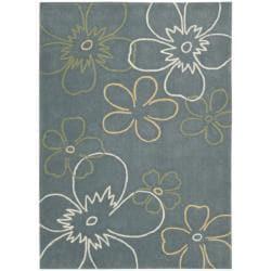 Nourison Hand-tufted Metropolitan Blue Floral Rug (8' x 10'6) - Thumbnail 1