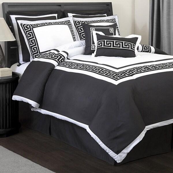Lush Decor Metropolitan White Black 8 Piece Queen Size