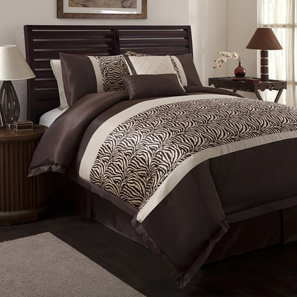 Lush Decor Zebra Taupe/ Brown 6-piece Queen-size Comforter Set