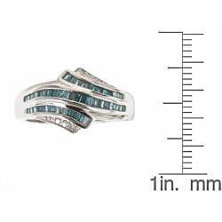 D'Yach Sterling Silver 5/9ct TDW Blue Diamond Fashion Cocktail Ring (G-H - I1-I2)