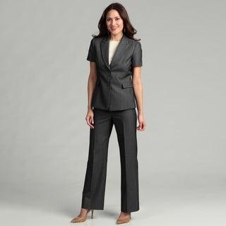 Tahari Women's Dark/ Grey Striped Pant Suit