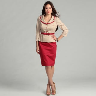 Tahari Women's Tan/ Red Poplin Skirt Suit
