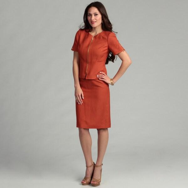Tahari Women's French Orange Zip Front Skirt Suit