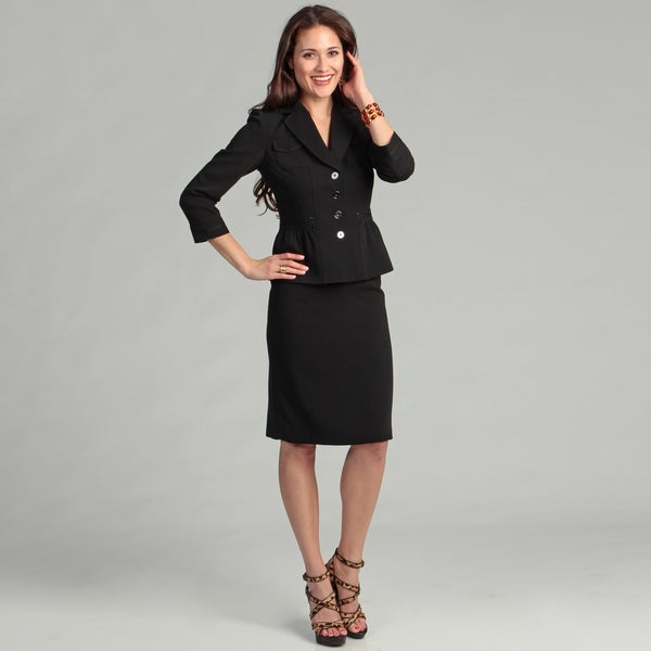 Tahari Women's Black Belted Skirt Suit