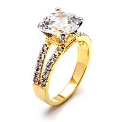 4.42 TCW Round Cubic Zirconia 14k Gold-Plated Engagement Anniversary Split-Shank Ring Clas