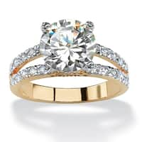 Yellow Gold-plated Cubic Zirconia Split Shank Engagement Ring - White