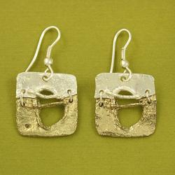 Handcrafted Pewter Goldtone Tribal Art Square Necklace and Earrings Set (India) - Thumbnail 1
