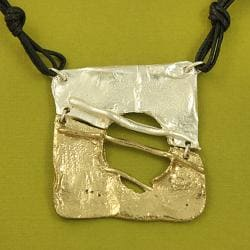 Handcrafted Pewter Goldtone Tribal Art Square Necklace and Earrings Set (India)