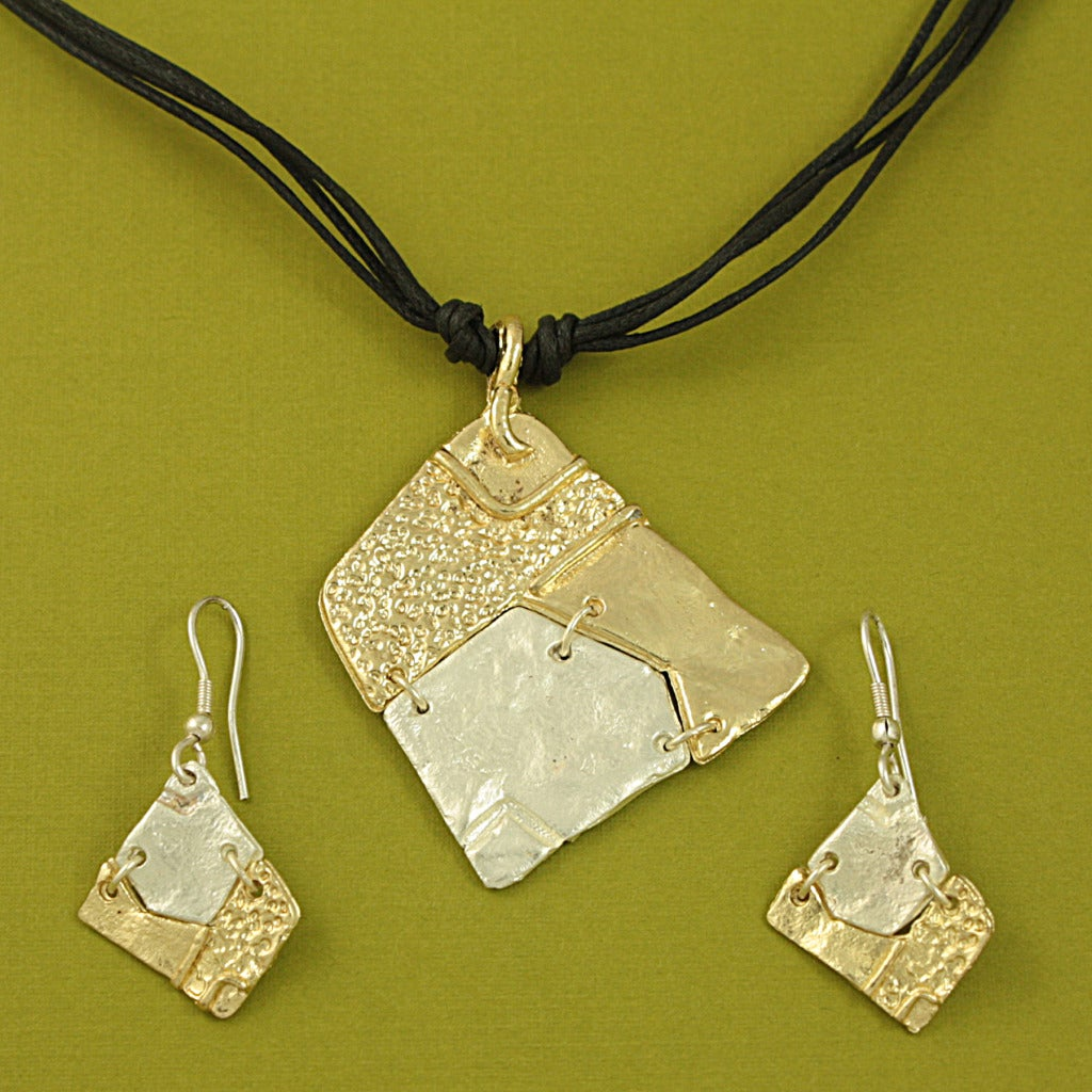 Handcrafted Pewter Goldtone Asymmetrical Tribal Necklace and Earrings Set (India)